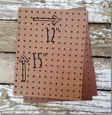 Measure your peg board pieces to 12 by 15 inches.