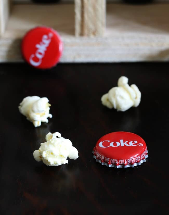 Popcorn and Coke bottle caps