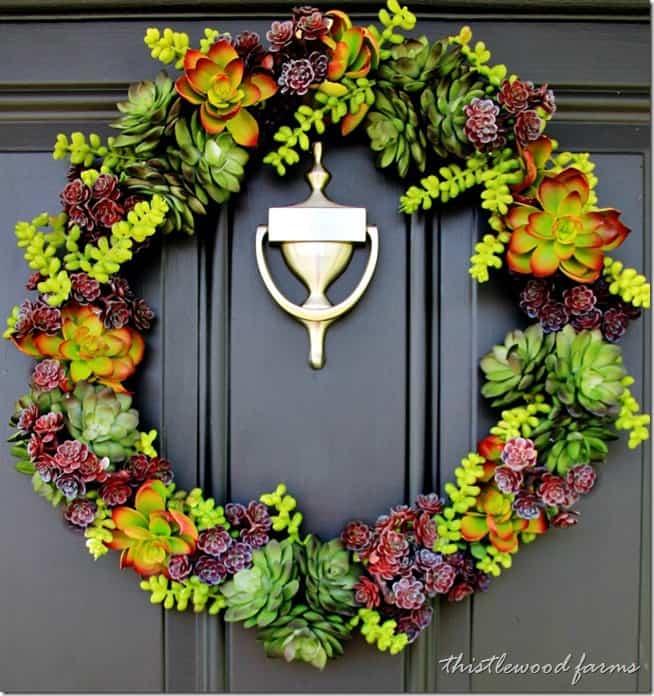 Faux succulent wreath for the front door