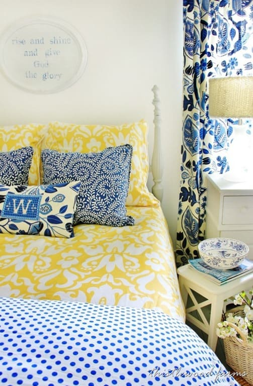 blue and yellow farmhouse bedroom thistlewood farm design ideas home with bohemian bedroom yellow regarding