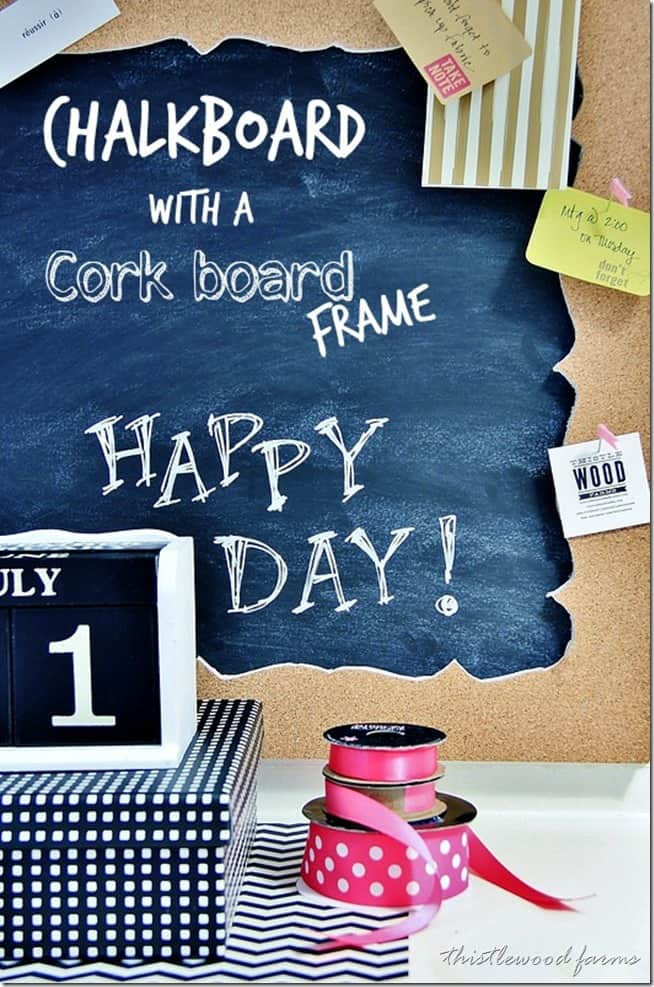 chalkboard with a cork board frame diy project