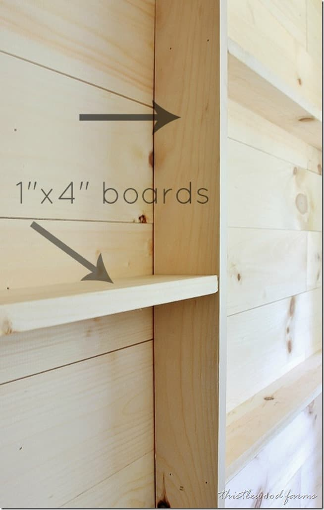 "Then, add the shelving with 1"" x 4"" boards"