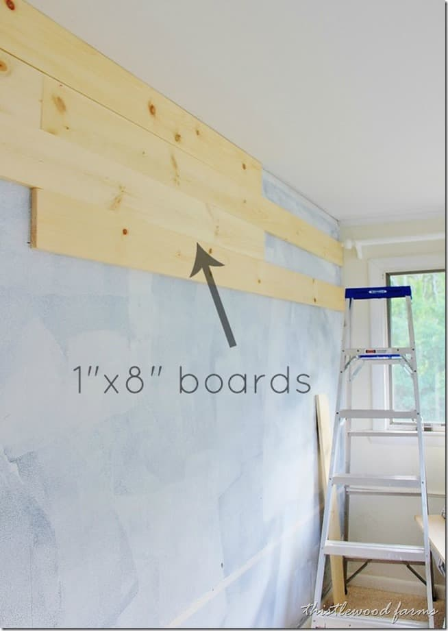 "Nail 1"" x 8"" boards to the wall"