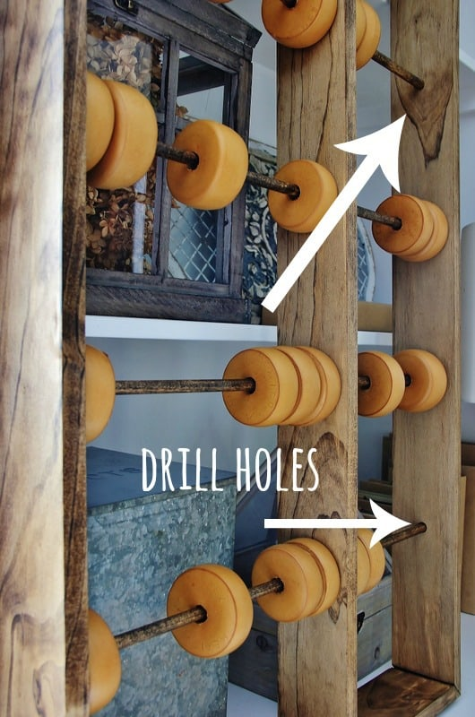 Drill holes into your abacus frame to ensure rods fit.