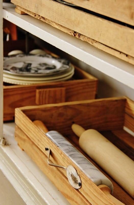 crate kitchen organization