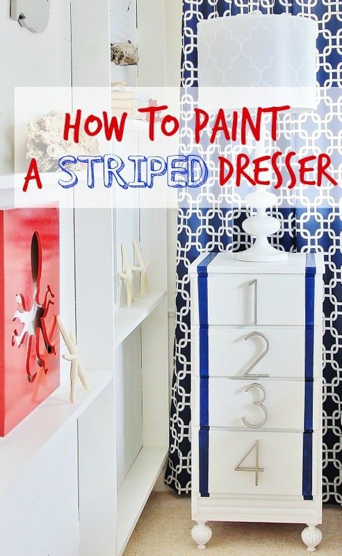 how to paint a striped dresser