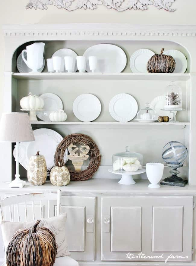 kitchen hutch fall decor