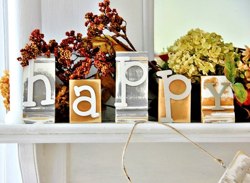 wood block mantel decor