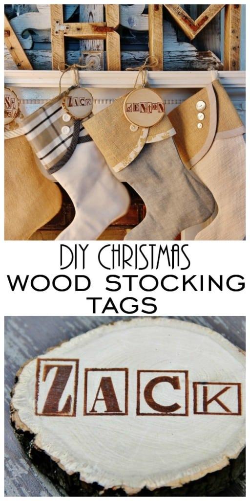 diy Christmas wood stocking tags