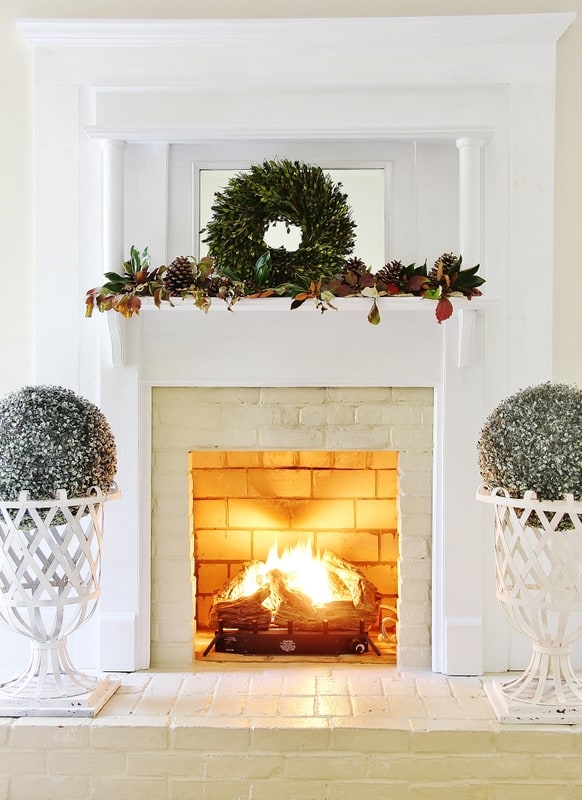 fireplace fall mantel