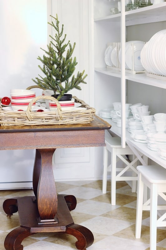 Christmas decorating butlers pantry table
