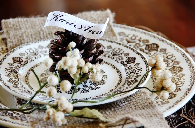 Thanksgiving Table Setting Ideas Pinecone Place Holder & Thanksgiving Table Setting Ideas Pinecone Place Holder - Thistlewood ...