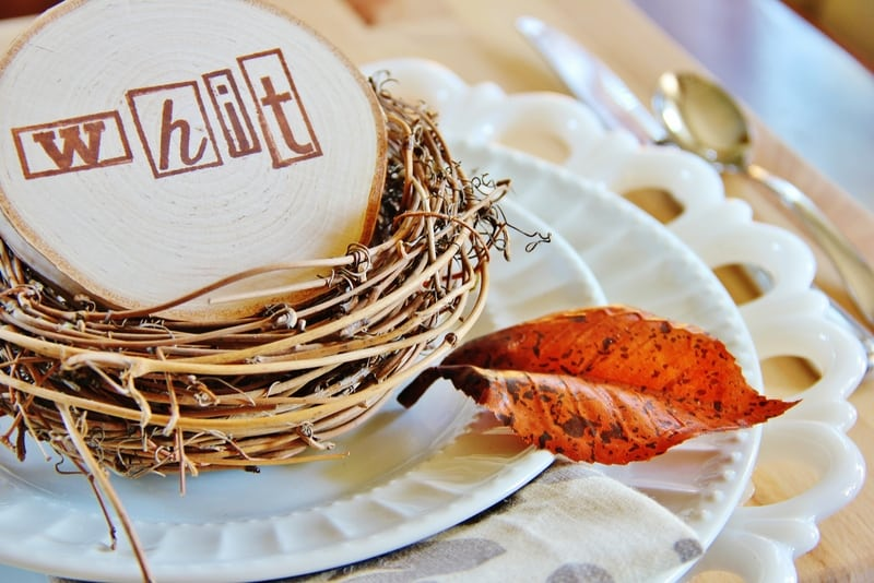 Thanksgiving Table Setting Ideas Wood Slice Place Holder
