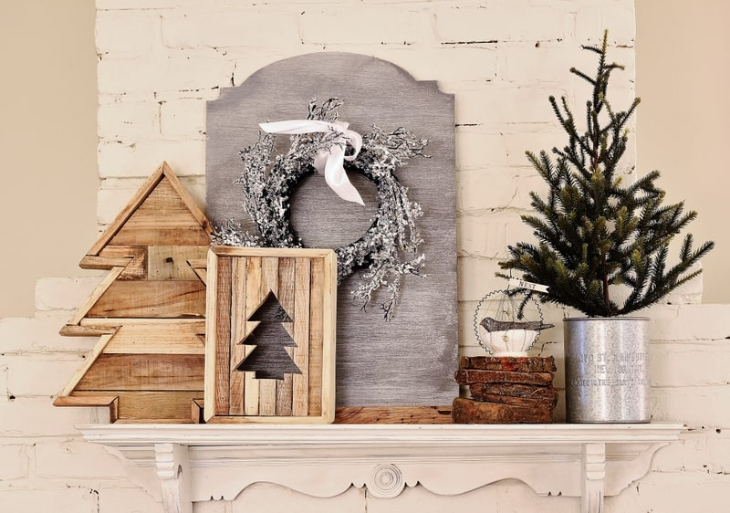 Christmas mantel in the kitchen