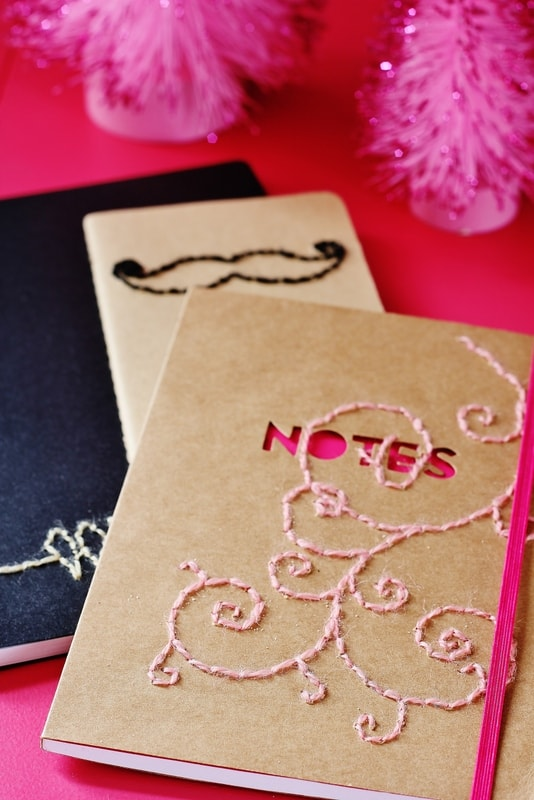 hand stitched notebook with embroidery thread