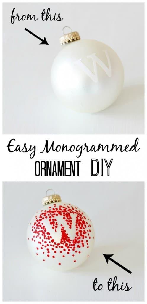 easy monogram ornament diy