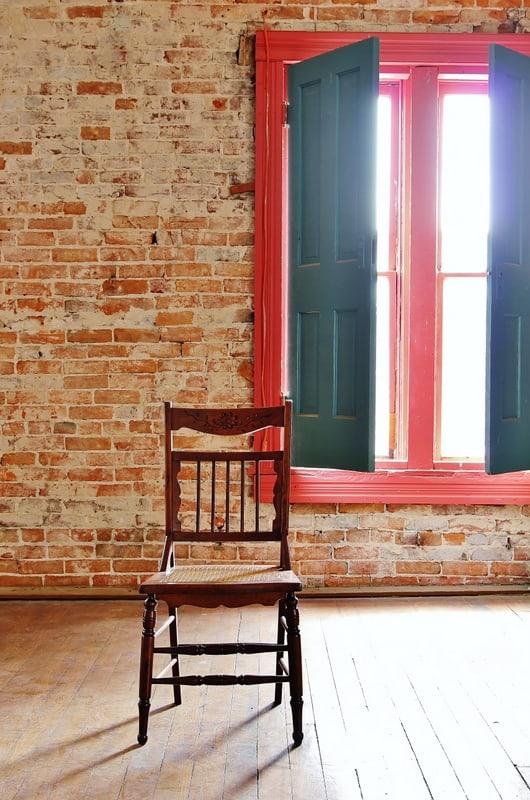 Wood Chair Brick Wall