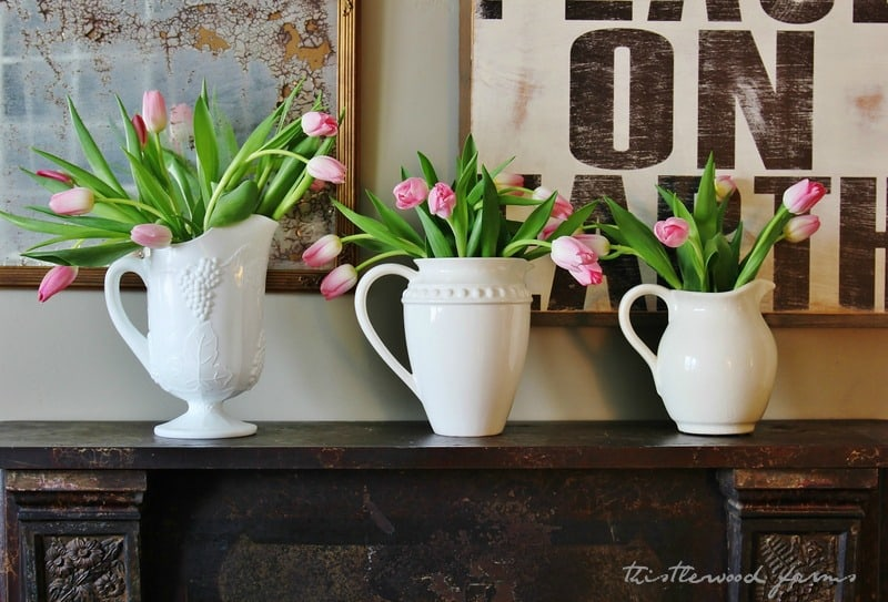 flowers decorating a mantel