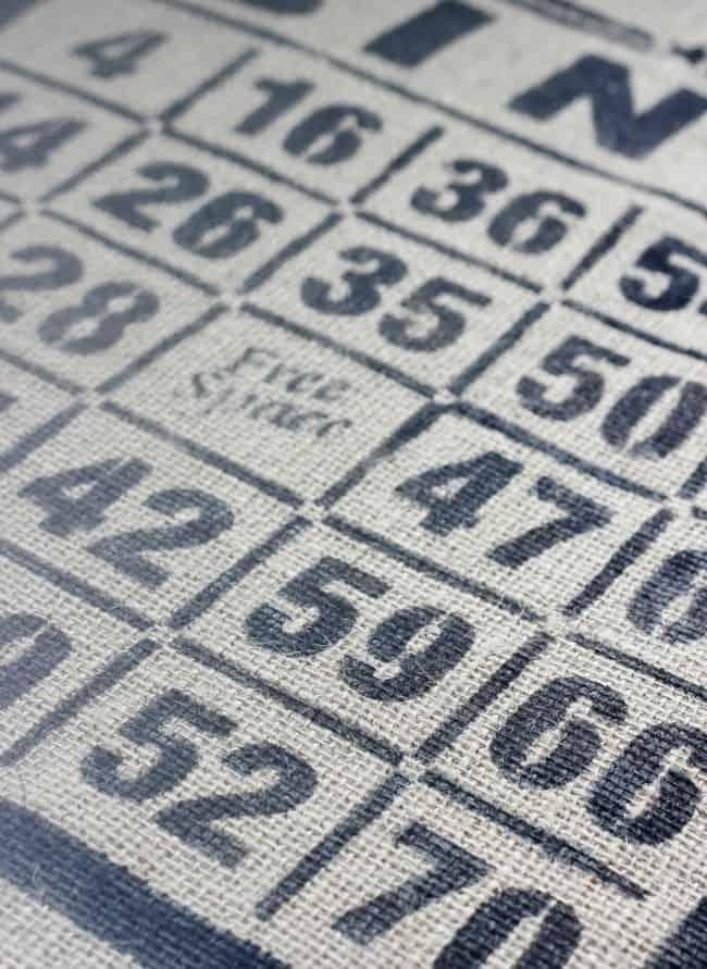 Bingo card stencil on burlap