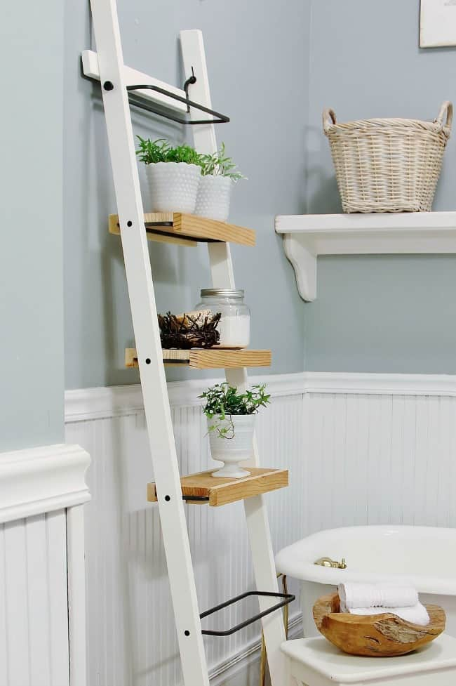 Check out this amazing IKEA hack bathroom shelf.