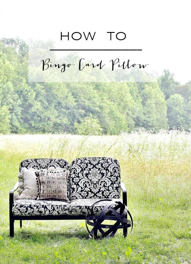 how to burlap bingo card pillow