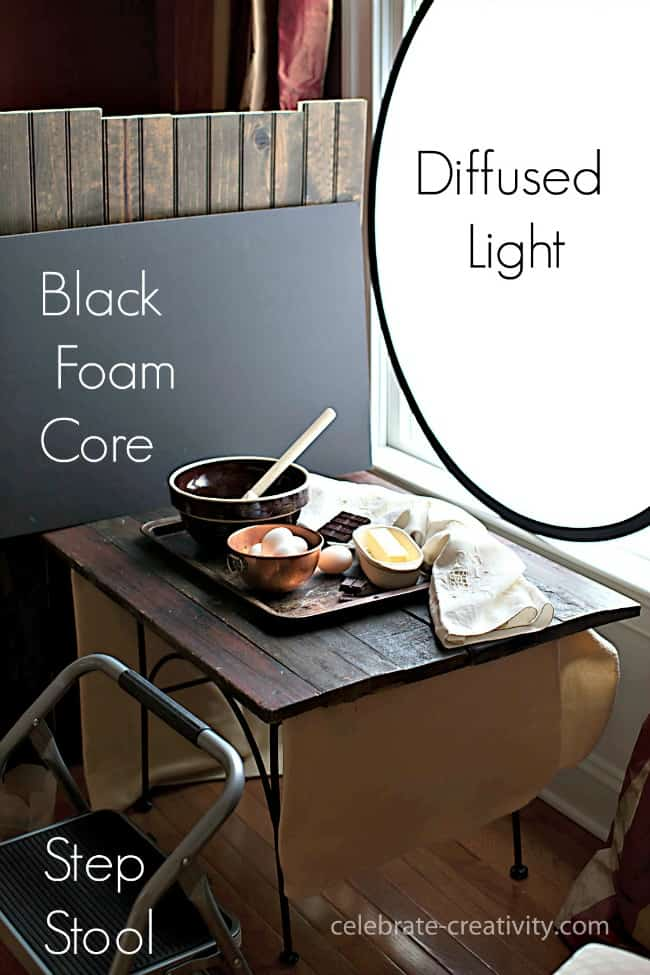 A light diffuser and black foam core gives this kitchen scene perfect lighting