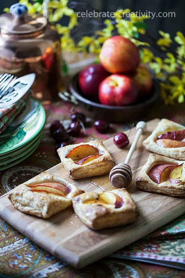 A cookbook photoshoot using nectarine and honey tarts photography styling tips