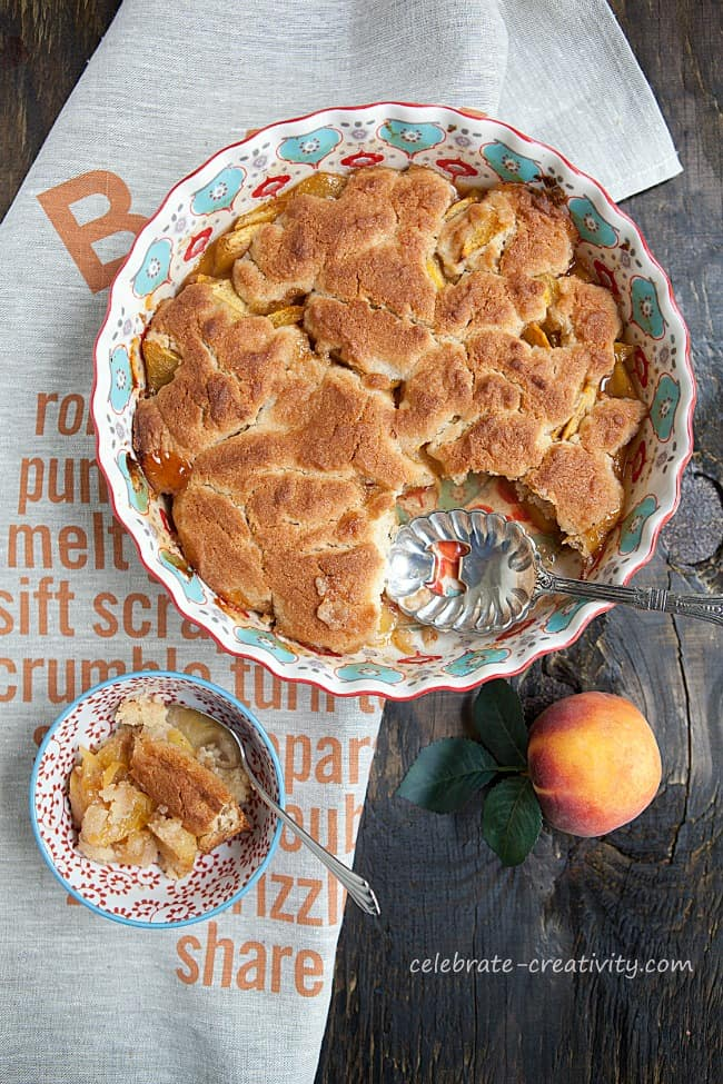 Styling food photo shoots is all about lighting and angles, like for this peach cobbler photo shoot  photography styling tips
