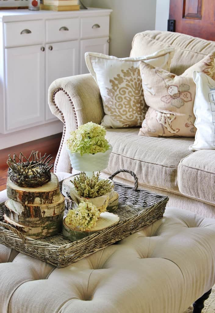 Wood Slice Basket Decor