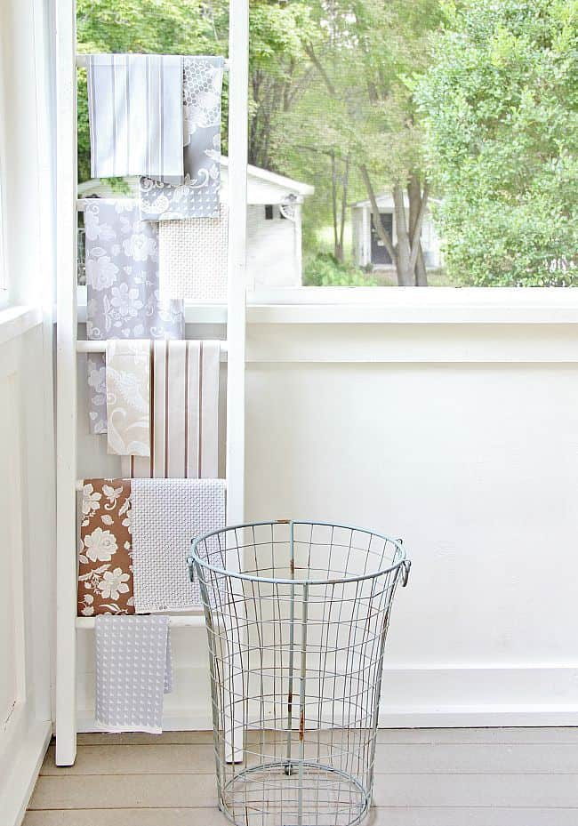 fabric on ladder