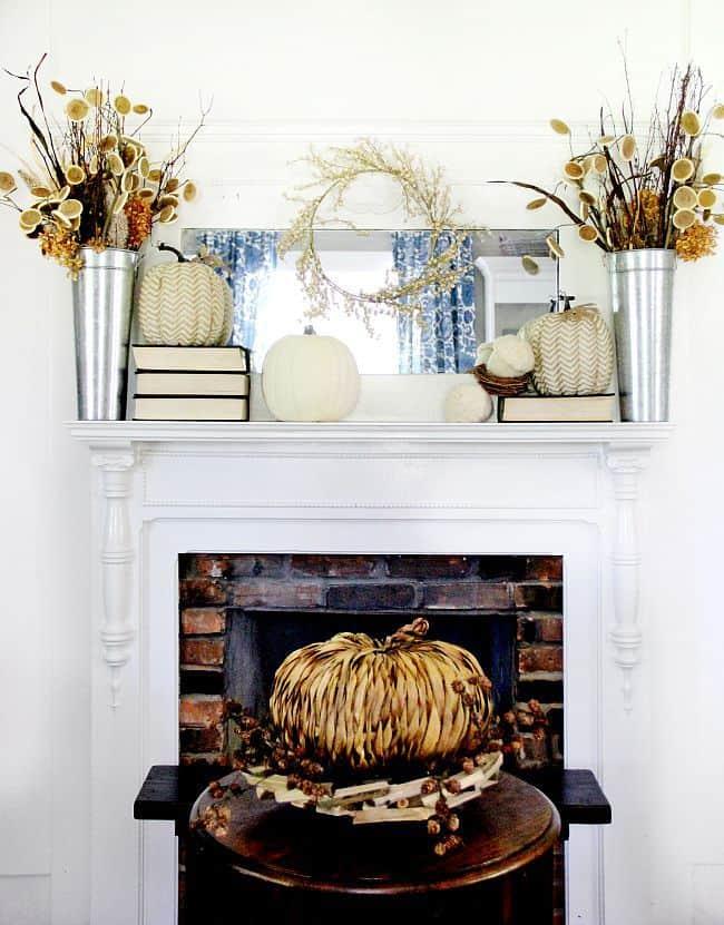 fall decor fireplace