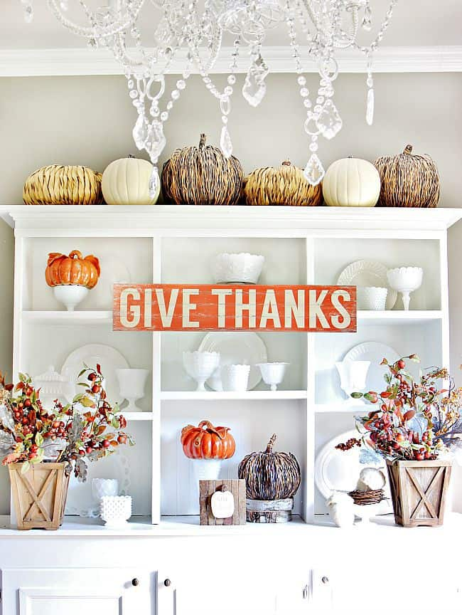 fall decorating harvest hutch