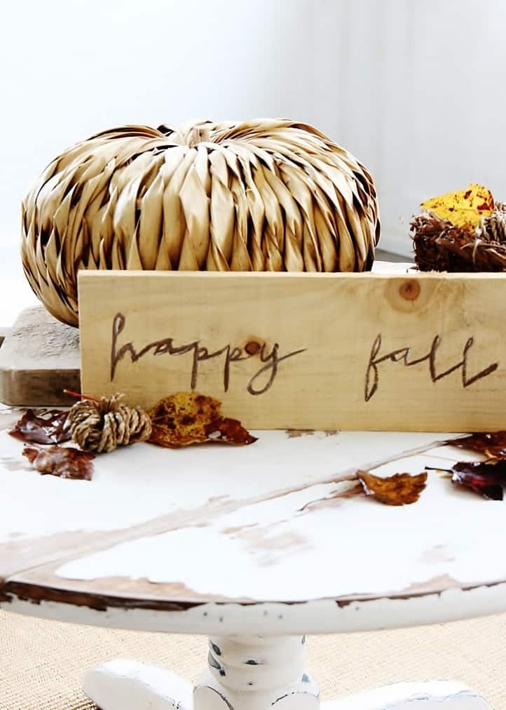 pumpkin and painted wooden sign with leaves and flowers