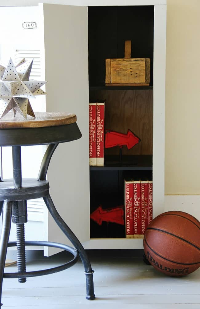 inside of locker with books before and after bookcase project