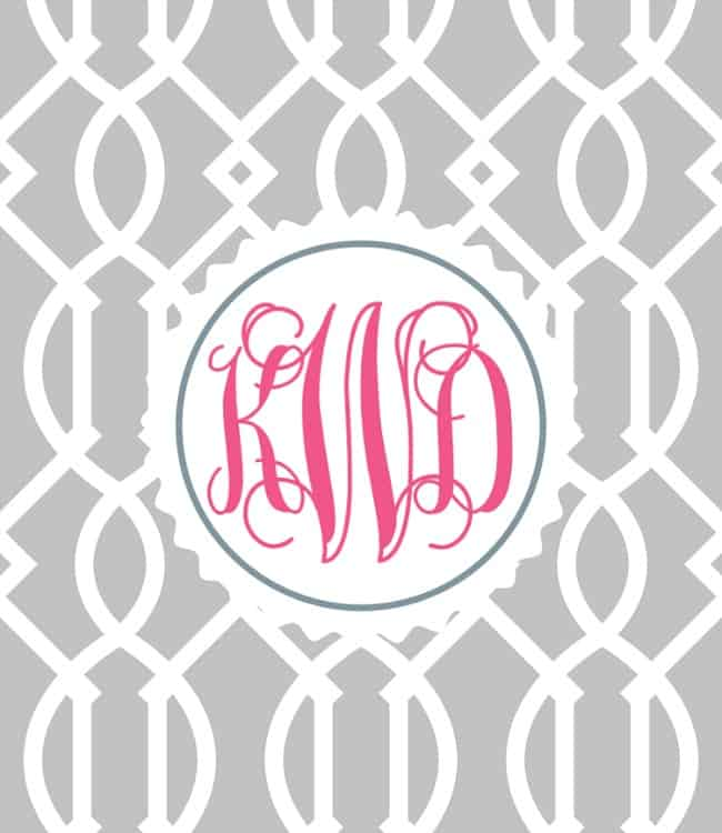 This monogram design was made through an app on a smartphone.