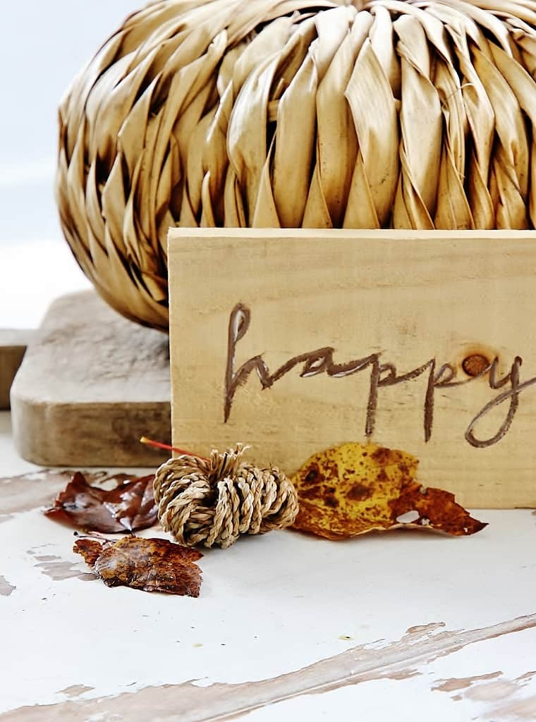wood happy fall sign painted sign ideas woven pumpkins and leaves
