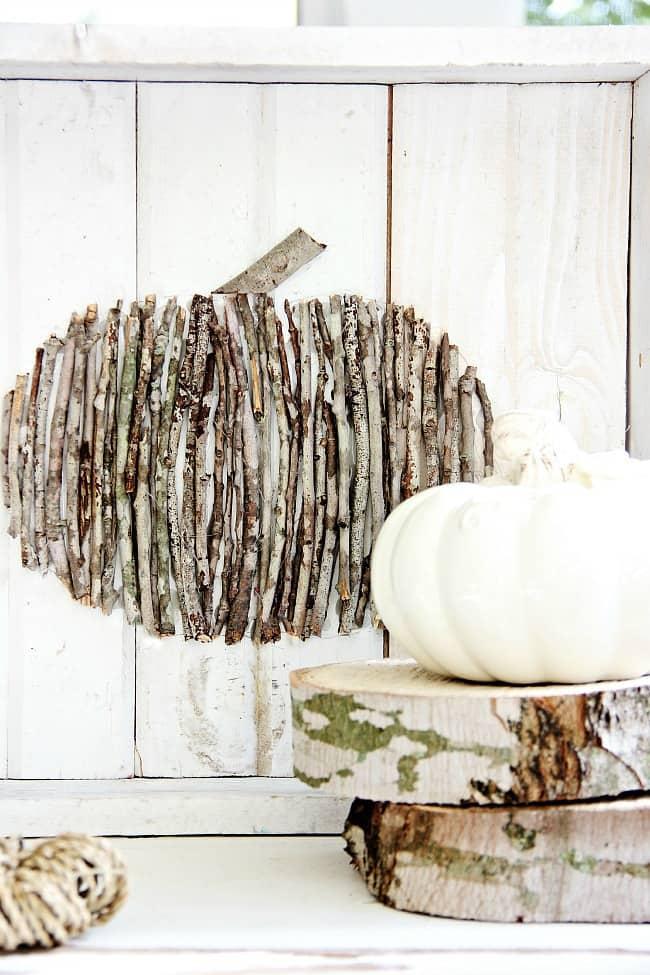 wood stick pumpkin diy thistlewood