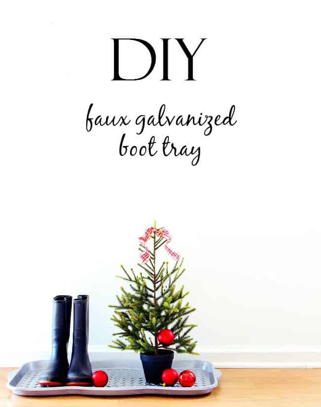 DIY faux galvanized boot tray