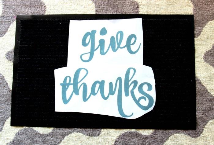 give thanks door mat diy