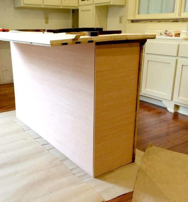 The kitchen island in progress