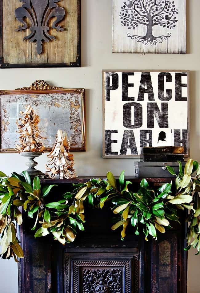 Wall of signs with the garland