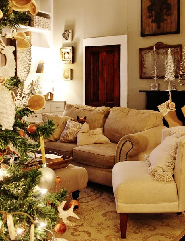 Christmas at night family room