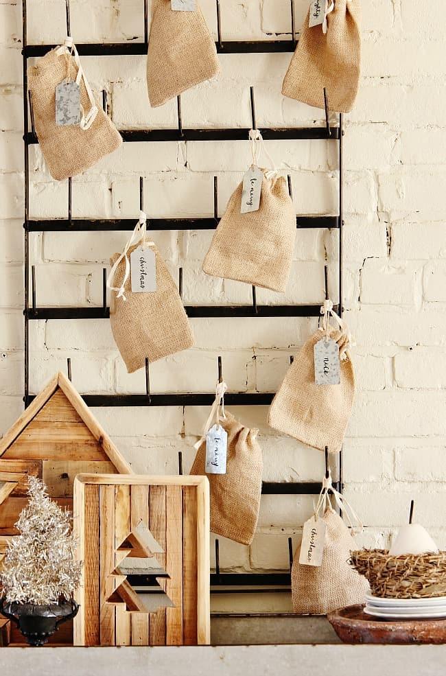 Christmas burlap sacks