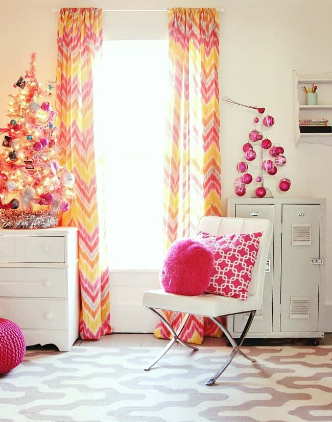 Christmas decorating bedroom bright colors