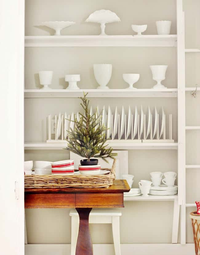 milk glass butler's pantry Christmas