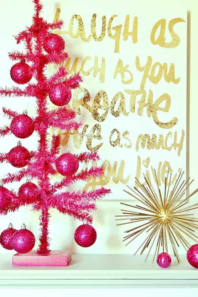 pink Christmas tree bright