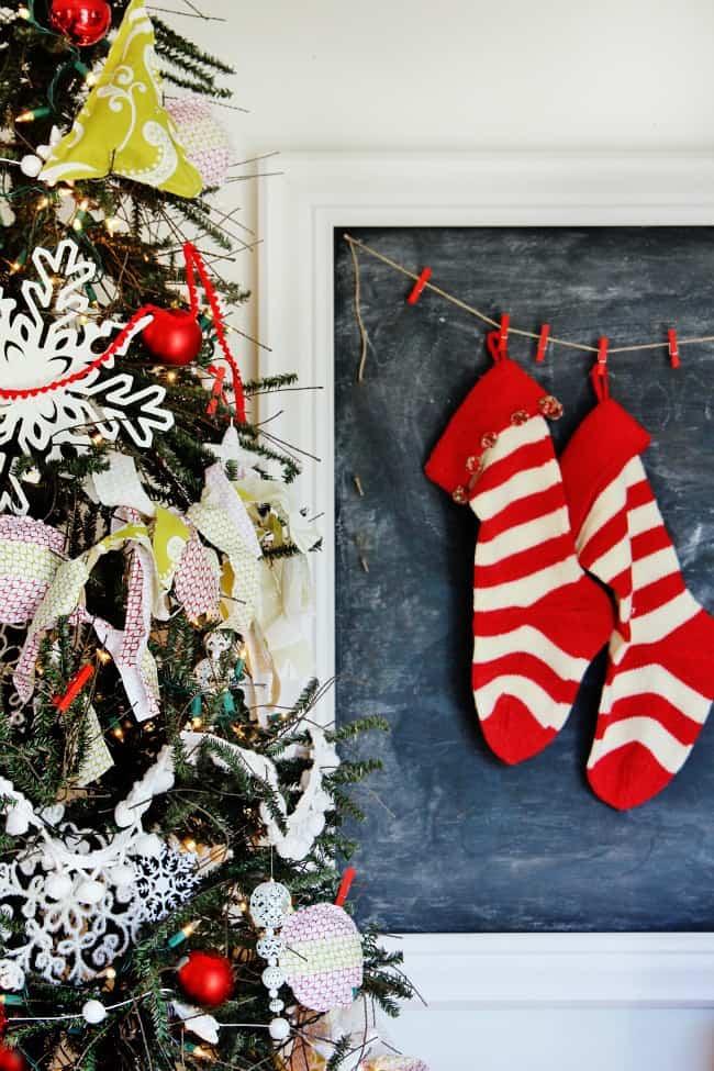 stockings and Christmas tree decorating