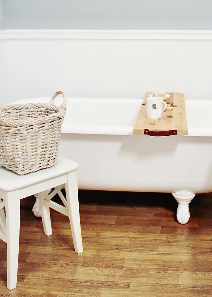 DIY Leather and Wood Bath Caddy - Thistlewood Farm