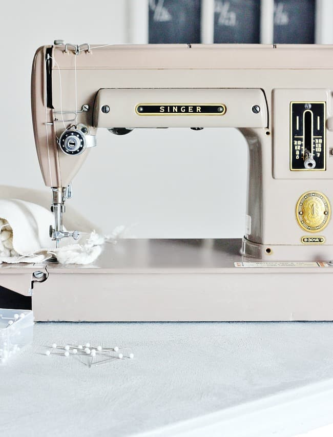 drop cloth pillow sewing on sewing machine
