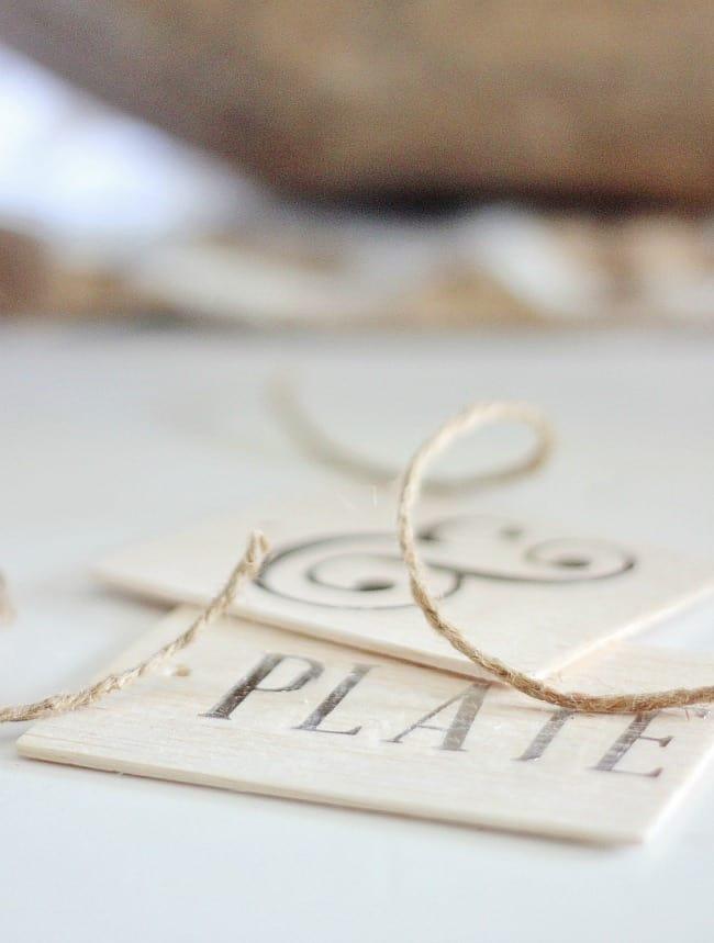 silver leaf balsa wood tag